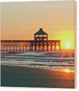 Folly Beach Pier Sunrise Wood Print