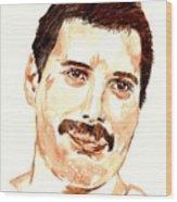 Freddie Mercury Portrait Wood Print