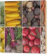 Fruit And Vegetable Collage Wood Print
