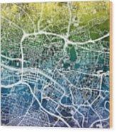 Glasgow Street Map Wood Print