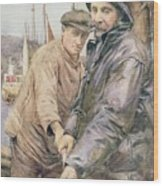 Hauling In The Net Henry Meynell Rheam Wood Print