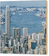 Hong Kong Harbour View From The Peak Wood Print