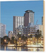 Honolulu Skyline Panorama Wood Print