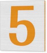 5 In Tangerine Typewriter Style Wood Print