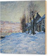Lavacourt Under Snow Wood Print