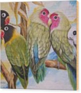 Flygende Lammet     Productions          5 Lovebirds Sitting On A Twig Wood Print