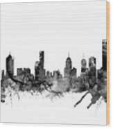 Melbourne Skyline Wood Print