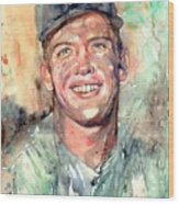 Mickey Mantle Portrait Wood Print