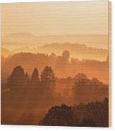 Misty Mountain Sunrise Wood Print