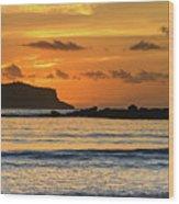 Orange Sunrise Seascape Wood Print