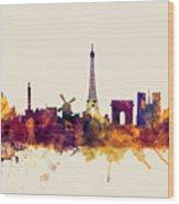 Paris France Skyline Wood Print