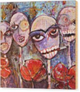 5 Poppies For The Dead Wood Print