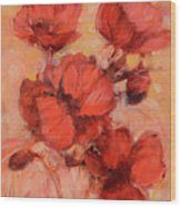Poppy Flowers Handmade Oil Painting On Canvas Wood Print