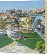 Porto Skyline Seagull Wood Print