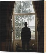 President Barack Obama Looks Wood Print by Everett
