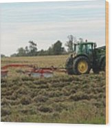 Raking Hay Wood Print