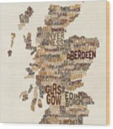 Scotland Typography Text Map Wood Print