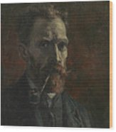 Self-portrait With Pipe Wood Print