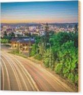 Spokane Washington City Skyline And Streets Wood Print