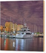 St Petersburg Florida City Skyline And Waterfront At Night Wood Print