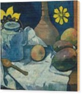 Still Life With Teapot And Fruit Wood Print