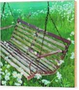 Swing In The Daisies Wood Print