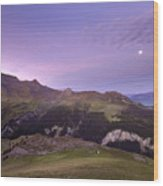 Swiss Alps In The Night Wood Print
