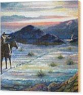 Texas Rangers On His Trail Wood Print