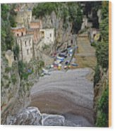 This Is A View Of Furore A Small Village Located On The Amalfi Coast In Italy  Wood Print