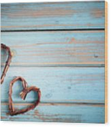Two Hearts On Wooden Background Wood Print