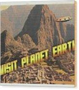 Ufo Postcards Home By Raphael Terra Wood Print