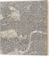 Vintage Map Of London England  Wood Print