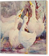 5 White Geese Wood Print