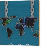 World Map Collection Wood Print