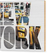 Yellow Cab Speeds Through Times Square In New York, Ny, Usa.  Wood Print