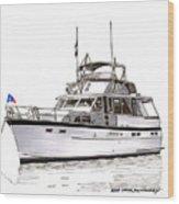 50 Foot Hatteras Motoryacht Wood Print