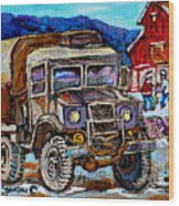 50's Dodge Truck Red Wood Barn Outdoor Hockey Rink  Art Canadian Winter Landscape Painting C Spandau Wood Print