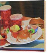 50's Style Food Malt Hamburger Tray  Wood Print