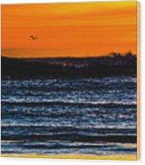 Sunset Bay Beach Wood Print