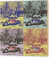 Old Beetle-pop Art Wood Print