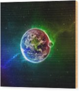 56996 3d Space Scene Colorful Digital Art Earth Wood Print
