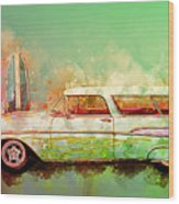 57 Chevy Nomad Wagon Blowing Beach Sand Wood Print