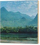 Lijiang River And Karst Mountains Scenery Wood Print