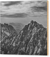 58462 Yellow Mountains Black And White Wood Print