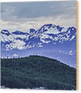 Alaska Nature And Mountain In June At Sunset Wood Print