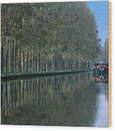 Barge On Burgandy Canal Wood Print