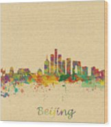Beijing China Skyline Wood Print