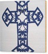 Blue Butterfly-cross Wood Print