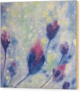 6 Blue Flowers In Breeze Wood Print