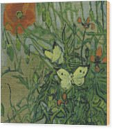 Butterflies And Poppies Wood Print